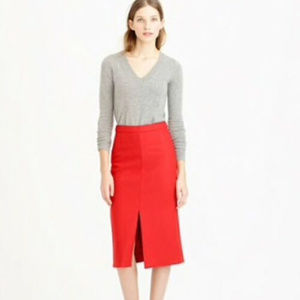 J CREW XS 2 Red pencil Skirt Wool Blend Career